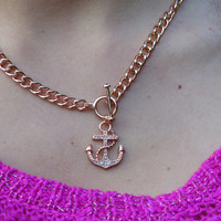 Rose Gold Lariat Anchor Necklace with Clear Crystals Statement Necklace