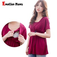 Emotion Moms Solid Maternity Clothes Nursing top Breastfeeding tops pregnancy clothes for Pregnant Women Maternity T-shirt