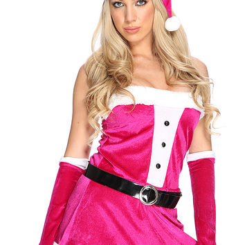 Magenta White Strapless Faux Fur Trim Holiday Costume Set