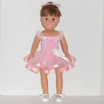 18 inch Doll Clothes Pink Dance Outfit with Leotard and Tutu Pink Ballet Outfit fits American Girl Dolls