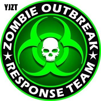 YJZT 15x15cm ZOMBIE Outbreak Response Team Retro-reflective Decals Personality Car Stickers C1-8063