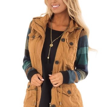 Camel Zip Up Button Vest with Draw String and Pockets