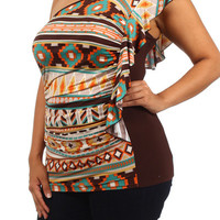 One Shoulder Mosaic Print Top - Brown - Plus Size - 1x - 2x - 3x