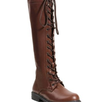 Women's 1 Inch Knee High Lace Up Boot With Inside Zipper (8,Brown Pu)