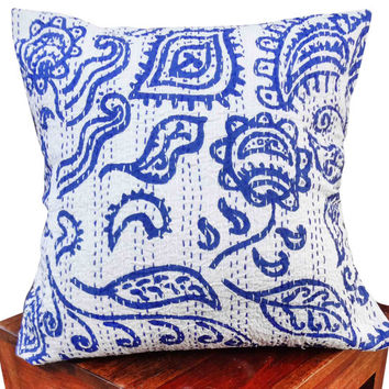 Indigo blue tribal kantha cushion cover , indian cushion, cotton cushion ,handmade cushion ,kantha pillow,sofa couch