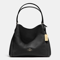 COACH Women Shopping Leather Handbag Tote Shoulder Bag Black I