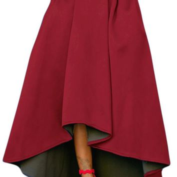 Chicloth Burgundy Asymmetric High-Low Hem Maxi Prom Skirt