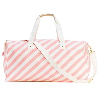 The Getaway Dufflel Bag - Ticket Stripe in Blush