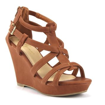 Women's Iynx Gladiator Wedge Sandals Fay Tan