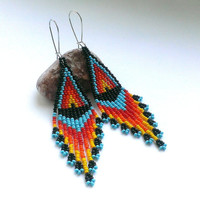 Beaded Earrings Native American Style-Long Dangle Earrings-Long Earrings With Fringe-Fringe Dangle Seed Bead Earrings