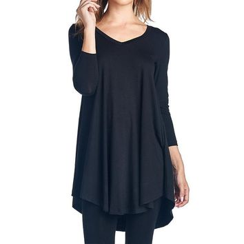 Loose Ladies Sexy V Neck Long Sleeve Solid Asymmetrical Blouse