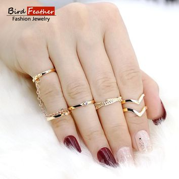 Gold color Retro Flower Knuckle Rings For Women Vintage Geometric Pattern Crystal Ring Set Party Bohemian Jewelry 6 PCS/Set