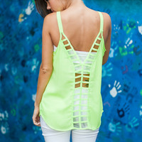 Paths Meet Tank, Neon Lime