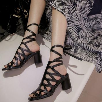 Lace Up High Square Heel Sandals Genuine Leather Ankle Wrap Summer Fashion Shoes