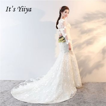 It's Yiiya 2017 Off White Full Sleeve O-Neck New Wedding Dresses Appliques Flower Mermaid Court Train Illusion Bride Frock HS723