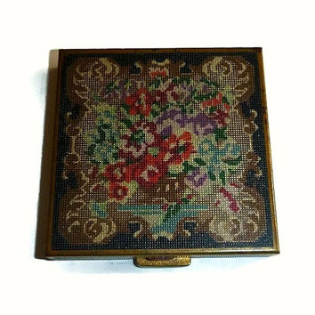 Vintage Enamel Petit Point Floral Compact,  Shabby Chic Floral Tapestry Design Powder Compact, Petit Point Volupte Compact Vanity Case
