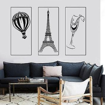 Wall Mural Paris Eiffel Tower Glass Of Wine Romantic Hot Air Balloon Unique Gift z2858