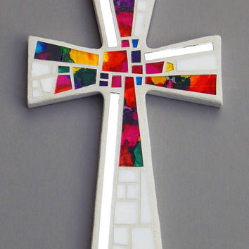 "Mosaic Wall Cross, White with Hand Painted Abstract Rainbow Glass + Silver Mirror, Handmade Stained Glass Mosaic Cross Wall Decor, 12"" x 8"""