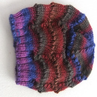 Women's Hand Knit Scalloped Lace Wool Beanie in Violet Blue Forest Green Brown and Wine