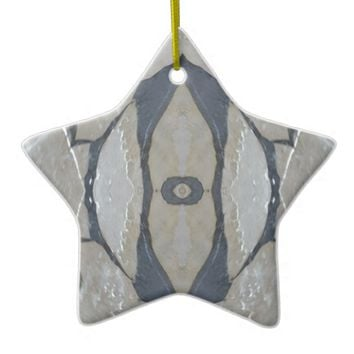 Kaleidoscope Design Light and Dark Gray Pattern Ceramic Ornament