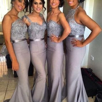Spaghetti Cheap Long Bridesmaid Dresses Silver/Gray Royal Blue Sweetheart Mermaid Vestidos De Bridesmaid Dress Maid Of Honor