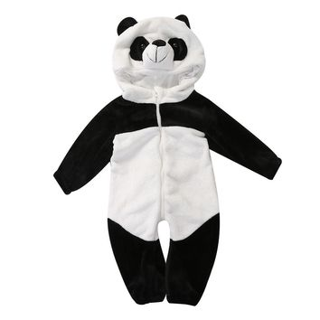 Baby Boy Girl panda Hooded Zipper Rompers Cute Baby Warm Costume Onesuit Panda Climbing Pajamas Romper Coverall