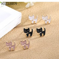 NIELSEN Women Stud Earrings Cute Cat Oil Drip Fashion Jewelry Accessories Sweet Girl  Wedding Party Gifts 2018 Trendy