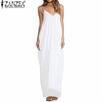 2016 New Summer Vestidos Women Dress Boho Strapless V-neck Sleeveless Baggy Long Maxi Dresses Sexy Sundress Beach Plus Size