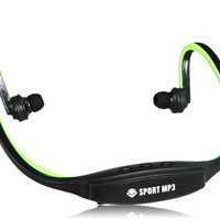 507 Wireless Sports Gym Running Headset Headphones MP3 Player Supports TF Card Reader (Green)