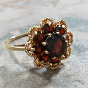 Vintage Yellow Gold Garnet Ring 10K Gold Solid Birthstone January Birthday Lovely Gift for Her Promise Ring Size 6 Birthday Gift for January