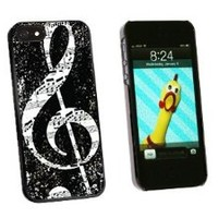 Graphics and More Vintage Treble Clef Music Black Snap-On Hard Protective Case for iPhone 5/5s - Non-Retail Packaging - Black