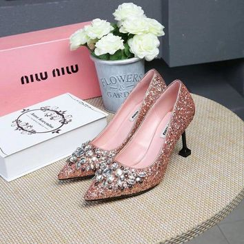 Prada Miu Miu Glitter Pumps With Crystals Rose Gold - Best Deal Online