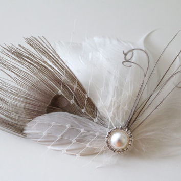 Wedding Bridal Off White Grey Peacock Feather Pearl Rhinestone Ivory Veiling Head Piece Hair Clip Fascinator Accessory READY TO SHIP