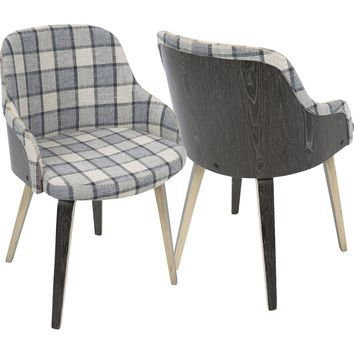 Bacci Mid-Century Modern Dining/ Accent Chair with Grey Plaid, Light Grey