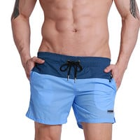 Two Colored Mid-Thigh Swim Shorts