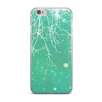 "Alison Coxon ""White Branches"" Teal iPhone Case"