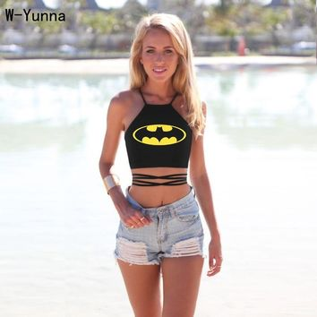 Batman Dark Knight gift Christmas Batman smile face sexy tops crops for summer strappy bustier crop top free size adjustable crop tops 2016 hot fashion tops AT_71_6