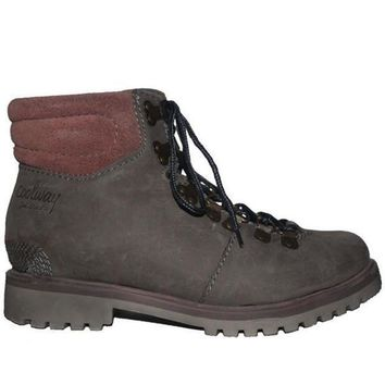 Coolway Bridget   Grey Leather Lace Up Hiking Boot