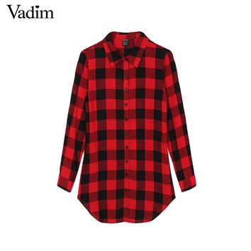 Women gingham shirting plaid long blouses vintage turn down collar long sleeve shirts casual top Blusas Femininas European LT203