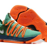 Nike Mens Kevin Durant KD 10 Grass green/Orange Basketball Shoes