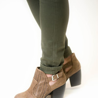 Taupe Perforated Distressed Booties