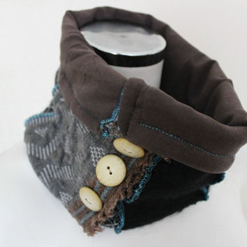 Black Grey Neck Warmer, Button infinity scarf, Black brown wool scarf, Black wool scarf, Man scarf hood, Unisex black, Black gray tube scarf