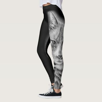 Drawing of Cat Black and White Animal Art Leggings