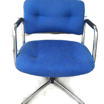 Vintage Steelcase Chrome Blue 4-Star Base Swivel Lounge/Arm Chair (2 available)