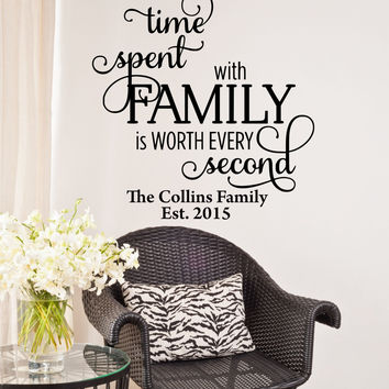 Time Spent With Family Is Worth Every Penny Personalized Custom Family Name Established Date Quote Vinyl Wall Decal Sticker