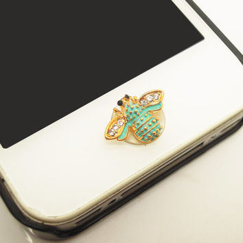 1PC Bling Crystal Cute Bee Alloy Cell Phone Home Button Sticker Charm for iPhone 4s,4g,5,5c Valentine Gift
