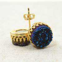 Blue Druzy Earrings, Druzy Stud Earrings, Gemstone Earrings, Blue Earrings 14KT Gold Filled Geode Stud Earrings