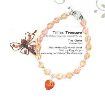 Bead Bracelet, Pink and Gold Crackled Glass Czech Crystal Beads, Heart Drop Pendant, Tibetan Silver Toggle Clasp, Plus Size, Handmade, OOAK