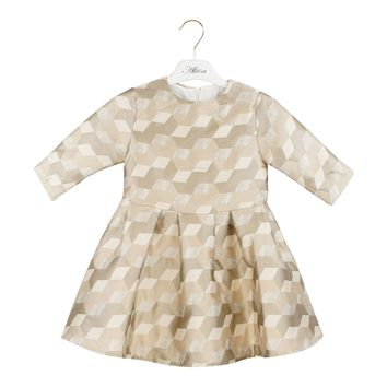 Alitsa Girls' Golden Box Pleat Dress