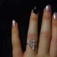 Sterling Silver Wire Wrapped Quartz Crystal Ring